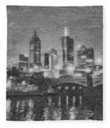 Night Landscape In Melbourne Fleece Blanket