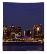 Night Lights Of Downtown Vancouver Fleece Blanket