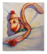 Night Night Sock Monkey Fleece Blanket