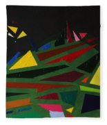 Night On The Green Fractures And Lights Fleece Blanket