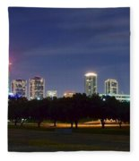Night Pano Of Fort Worth Fleece Blanket
