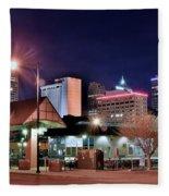 Night Panorama Of Okc Fleece Blanket