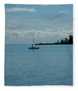 Night Sailing At Port Hope Bay Michigan Fleece Blanket