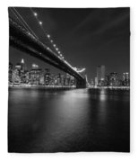 Night Scape Bw Fleece Blanket