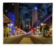 Night Shot Of Broad Street - Philadelphia Fleece Blanket