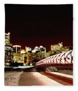 Night Shots Calgary Alberta Canada Fleece Blanket