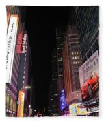 Night Time At Times Square Fleece Blanket