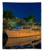 Night Time In Fort Lauderdale Fleece Blanket