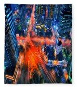 Night Traffic  Fleece Blanket