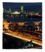 Night Traffic Over Han River In Seoul Fleece Blanket