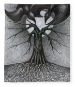 Night Tree Moon And We  Fleece Blanket