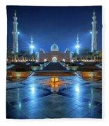 Night View At Sheikh Zayed Grand Mosque, Abu Dhabi, United Arab Emirates Fleece Blanket