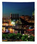 Night View Inner Harbor Fleece Blanket
