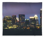 Night View Of Downtown Skyline In Winter Fleece Blanket