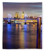 Night View Of Hungerford Bridge And Golden Jubilee Bridges London Fleece Blanket