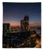 Night View Of The City Of London Fleece Blanket