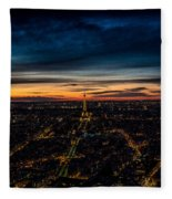 Night View Over Paris With Eiffel Tower Fleece Blanket