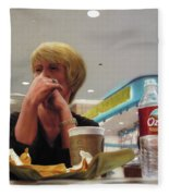 Nighthawks At The Foodcourt Fleece Blanket