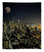 Nightlights Seattle Washington  Fleece Blanket