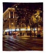 Nights, Lights Downtown Sj Fleece Blanket