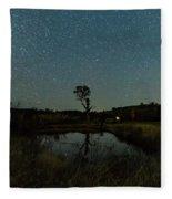 Nightscape And Dam Landscape Fleece Blanket