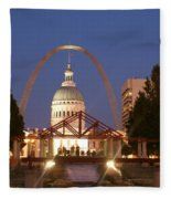 Nighttime At The Arch Fleece Blanket
