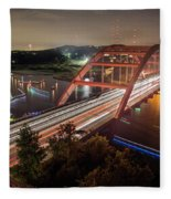 Nighttime Boats Cruise Up And Down The Loop 360 Bridge, A Boaters Paradise With Activities That Include Boating, Fishing, Swimming And Picnicking - Stock Image Fleece Blanket