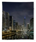 Nighttime Chicago River And Skyline View Fleece Blanket