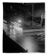 Nighttime Street Scene With Traffic Fleece Blanket