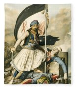 Nikolakis Mitropoulos Raises The Flag With The Cross At Salona On Easter Day 1821 Fleece Blanket