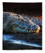 Nile Crocodile On Riverbank-1 Fleece Blanket