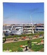Nile Cruise Ships Aswan Fleece Blanket