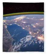 Nile River At Night From Iss Fleece Blanket