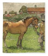 Nils Kreuger, 1858-1930, Brunte Picked Up On Sunday Morning Fleece Blanket