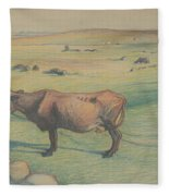 Nils Kreuger, 1858-1930, Cow In The Meadow Fleece Blanket