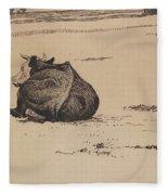 Nils Kreuger, 1858-1930, Resting Cow Fleece Blanket