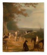 Nine Greyhounds In A Landscape Fleece Blanket