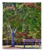 Ninety Six National Historic Site Bench In Autumn  Fleece Blanket