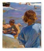 Ninos En La Playa. Valencia Fleece Blanket