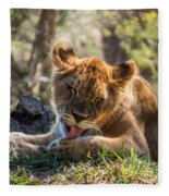 Lion Cub Lick Fleece Blanket