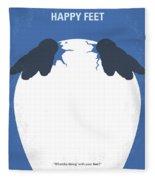 No744 My Happy Feet Minimal Movie Poster Fleece Blanket