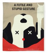 No893 My A Futile And Stupid Gesture Minimal Movie Poster Fleece Blanket