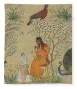 Noble Woman In A Garden Fleece Blanket