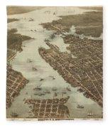 Norfolk And Portsmouth Map Fleece Blanket