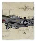 North American F-82b Twin Mustang - Profile Art Fleece Blanket