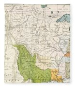 North American Indian Tribes, 1833 Fleece Blanket
