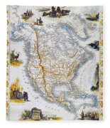 North American Map, 1851 Fleece Blanket