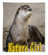 North American Otter Nature Girl Fleece Blanket
