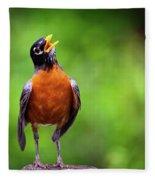 North American Robin In Song Fleece Blanket