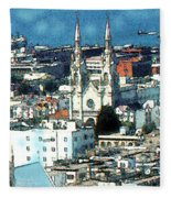 North Beach San Francisco - Watercolor Fleece Blanket